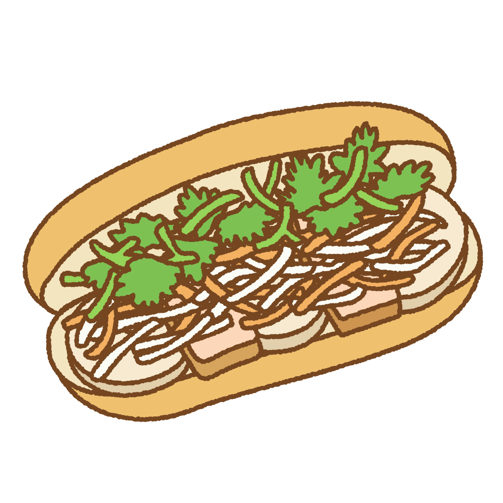 バインミーのフリーイラスト clip art of Bánh mì
