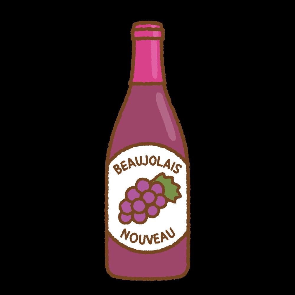 ボジョレーヌーヴォーのフリーイラスト Clip art of beaujolais nouveau