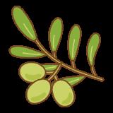 オリーブの実のフリーイラスト Clip art of olive