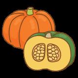 カボチャのフリーイラスト Clip art of pumpkin
