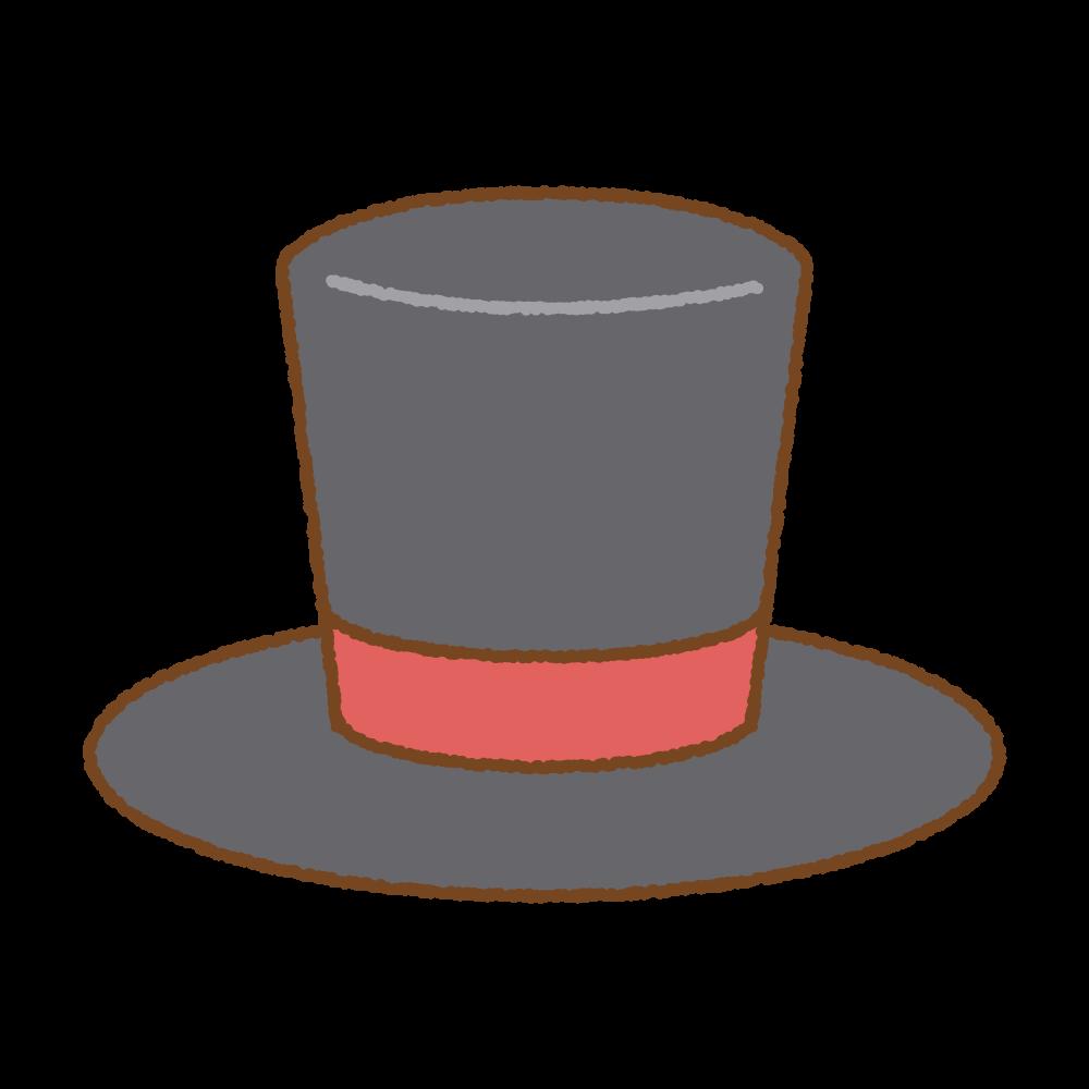 シルクハット(赤)のフリーイラスト Clip art of red top-hat