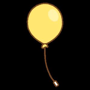黄色い風船のフリーイラスト Clip art of yellow balloon