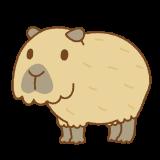 カピバラのフリーイラスト Clip art of capybara