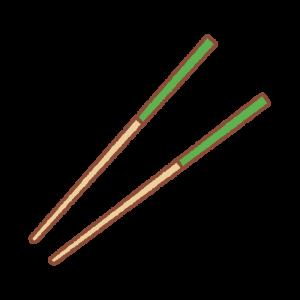 緑の箸(開)のイラスト