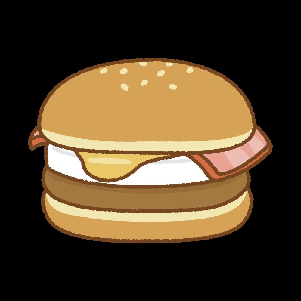 お月見ハンバーガーのフリーイラスト Clip art of tsukimi hamburger