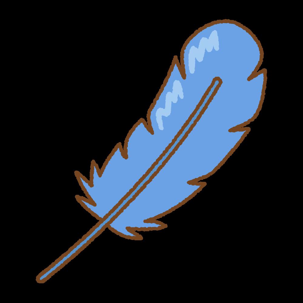 青い羽根のフリーイラスト Clip art of blue feather