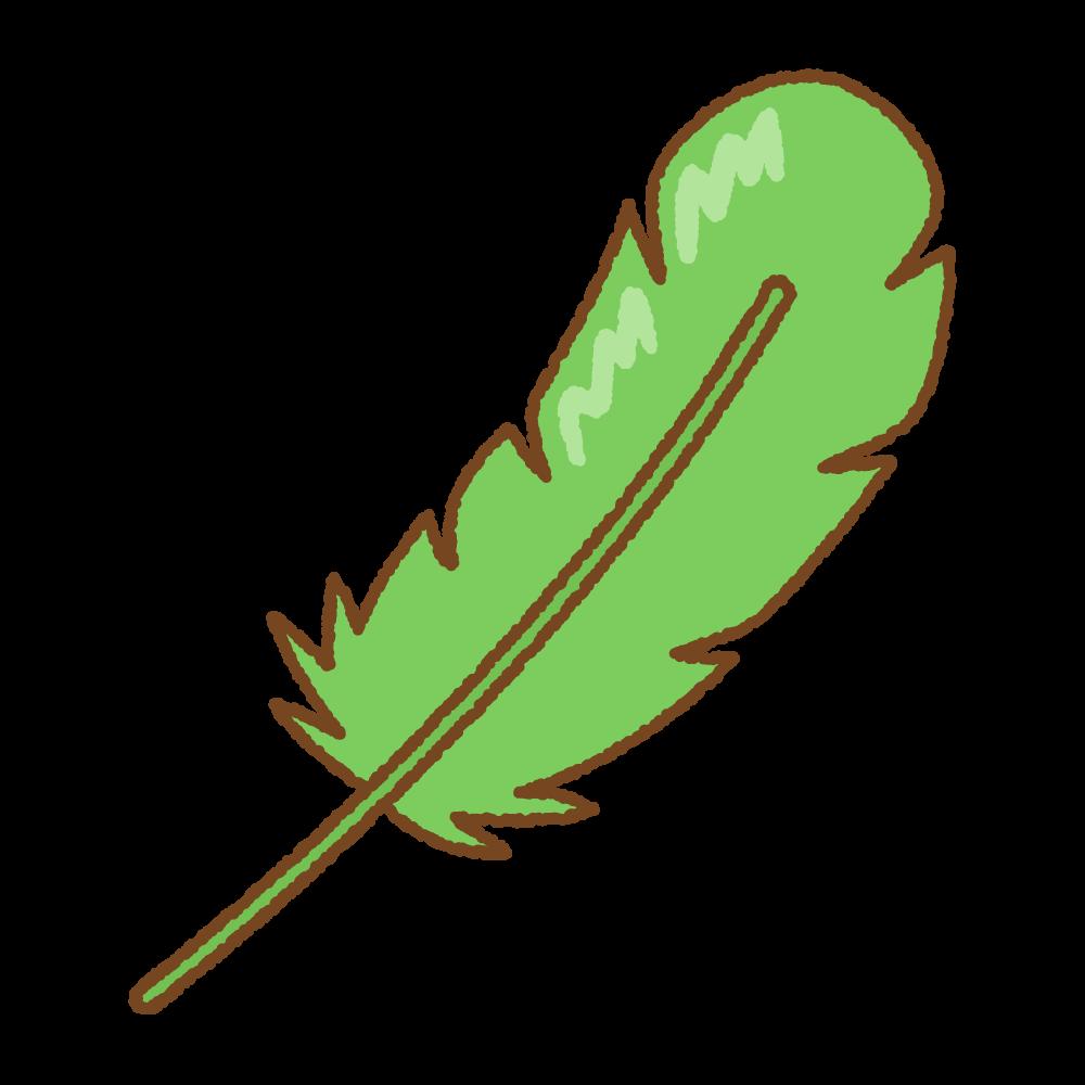 緑の羽根のフリーイラスト Clip art of green feather