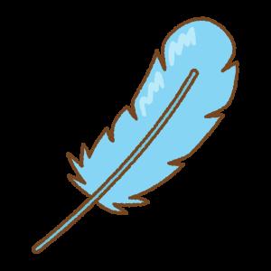 水色の羽根のフリーイラスト Clip art of light-blue feather