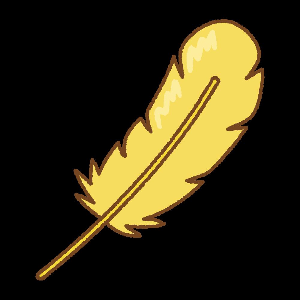 黄色い羽根のフリーイラスト Clip art of yellow feather
