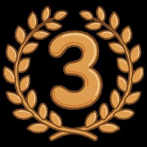 3位の月桂冠のフリーイラスト Clip art of No.3 laurel-wreath
