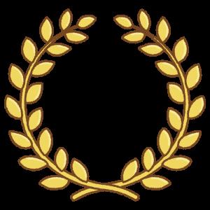 金の月桂冠のフリーイラスト Clip art of gold laurel-wreath