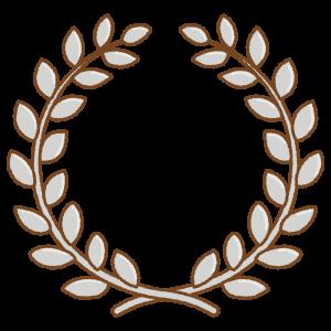 銀の月桂冠のフリーイラスト Clip art of silver laurel-wreath