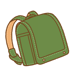 緑のランドセルのフリーイラスト Clip art of green randoseru
