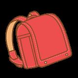 赤いランドセルのフリーイラスト Clip art of red randoseru