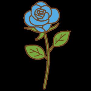 青いバラのフリーイラスト Clip art of blue rose