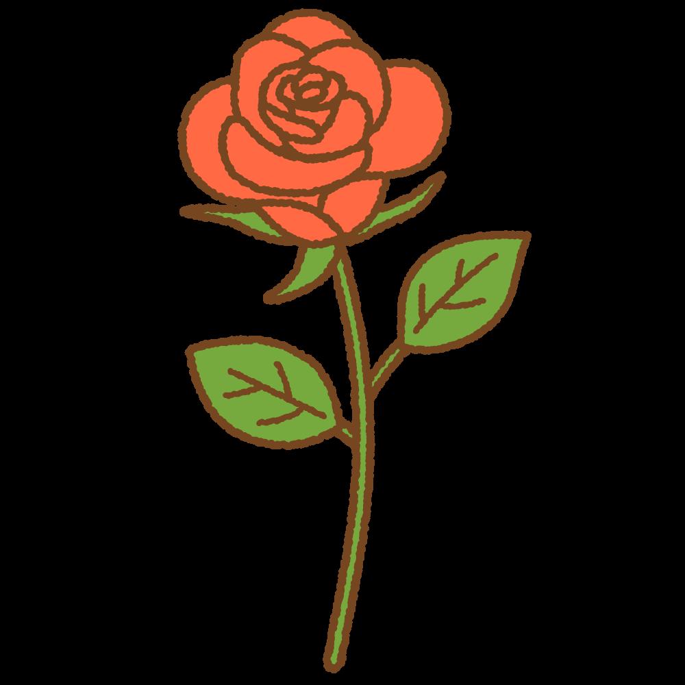 赤いバラのフリーイラスト Clip art of red rose