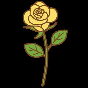 黄色いバラのフリーイラスト Clip art of yellow rose