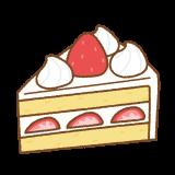 イチゴのショートケーキのフリーイラスト Clip art of shortcake strawberry