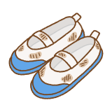 汚れた上履きのフリーイラスト Clip art of dirty uwabaki