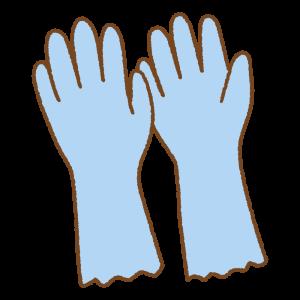 青のゴム手袋のフリーイラスト Clip art of blue bubber-glove