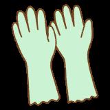 緑のゴム手袋のフリーイラスト Clip art of green bubber-glove