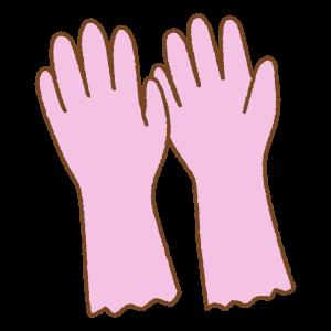 ピンクのゴム手袋のフリーイラスト Clip art of pink bubber-glove