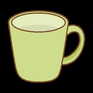 黄緑のマグカップのフリーイラスト Clip art of light-green mug