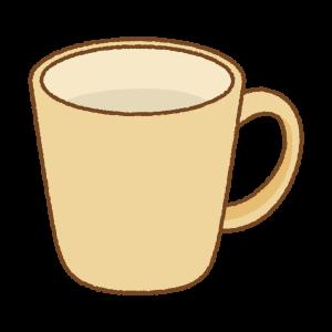 黄土色のマグカップのフリーイラスト Clip art of ochre mug