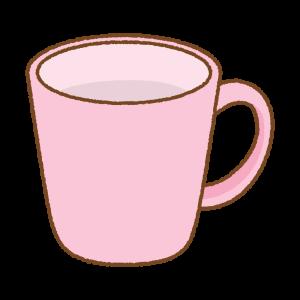 ピンクのマグカップのフリーイラスト Clip art of pink mug