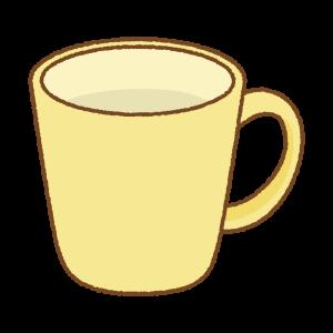 黄色のマグカップのフリーイラスト Clip art of yellow mug