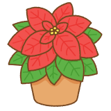 ポインセチアのフリーイラスト Clip art of poinsettia