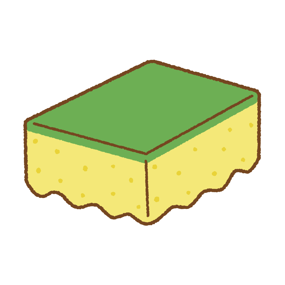食器用スポンジのフリーイラスト Clip art of tableware-sponge