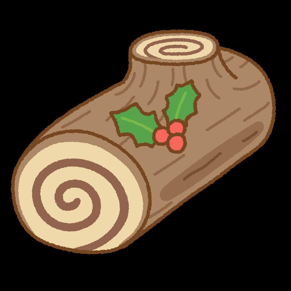 ビュッシュ・ド・ノエルのフリーイラスト Clip art of yule-log