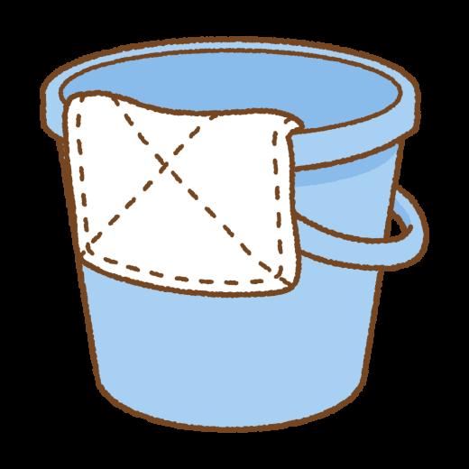 雑巾とバケツのイラスト