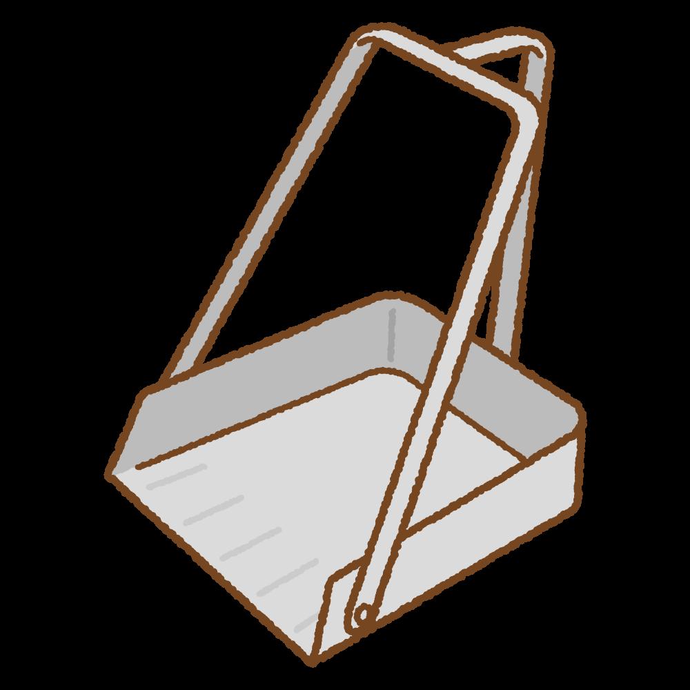 三つ手ちりとりのフリーイラスト Clip art of dustpan