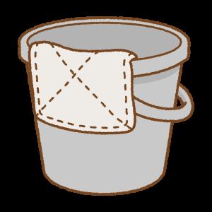 バケツと雑巾のフリーイラスト Clip art of bucket & dust cloth