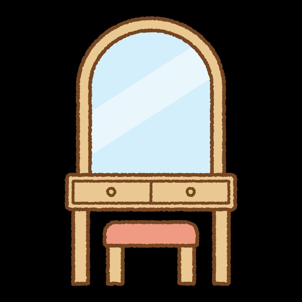 鏡台のフリーイラスト Clip art of mirror desk