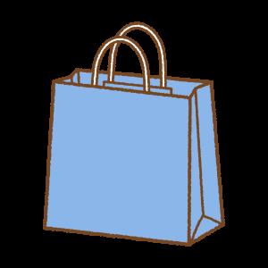 青い紙袋のフリーイラスト Clipart of blue paper-bag