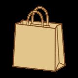 クラフト紙の紙袋のフリーイラスト Clip art of craft paper-bag