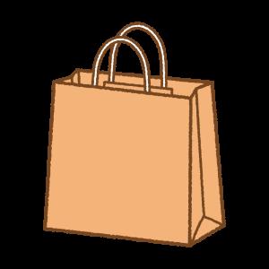 オレンジの紙袋のフリーイラスト Clipart of orange paper-bag