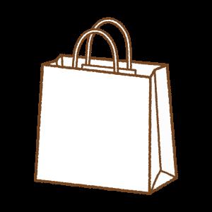 白い紙袋のフリーイラスト Clip art of white paper-bag
