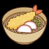 年越し蕎麦のフリーイラスト Clipart of toshikoshi-soba