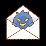 ウイルスメールのフリーイラスト Clipart of virus-mail