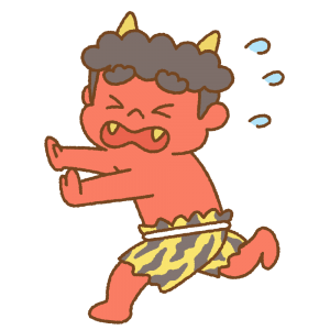 逃げる赤鬼のフリーイラスト Clip art of akaoni