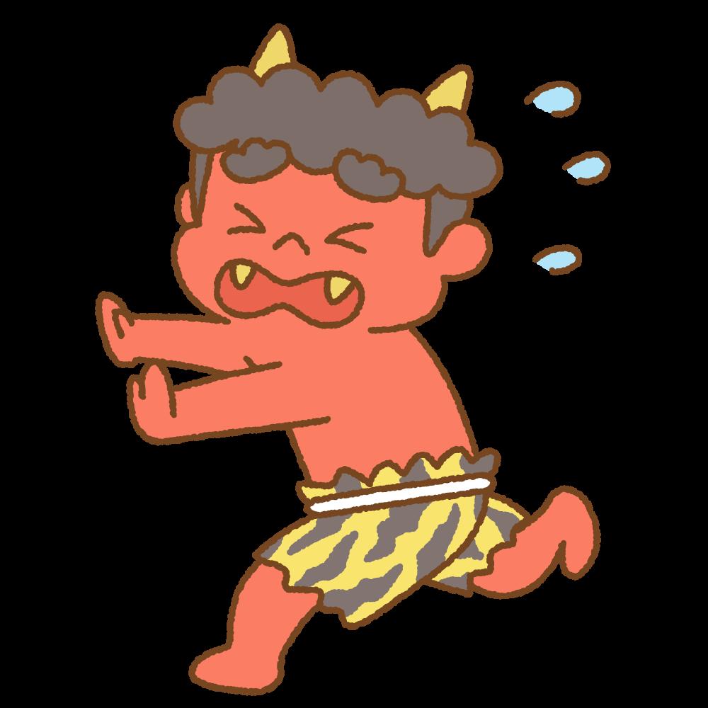 逃げる赤鬼のフリーイラスト Clip art of aka-oni