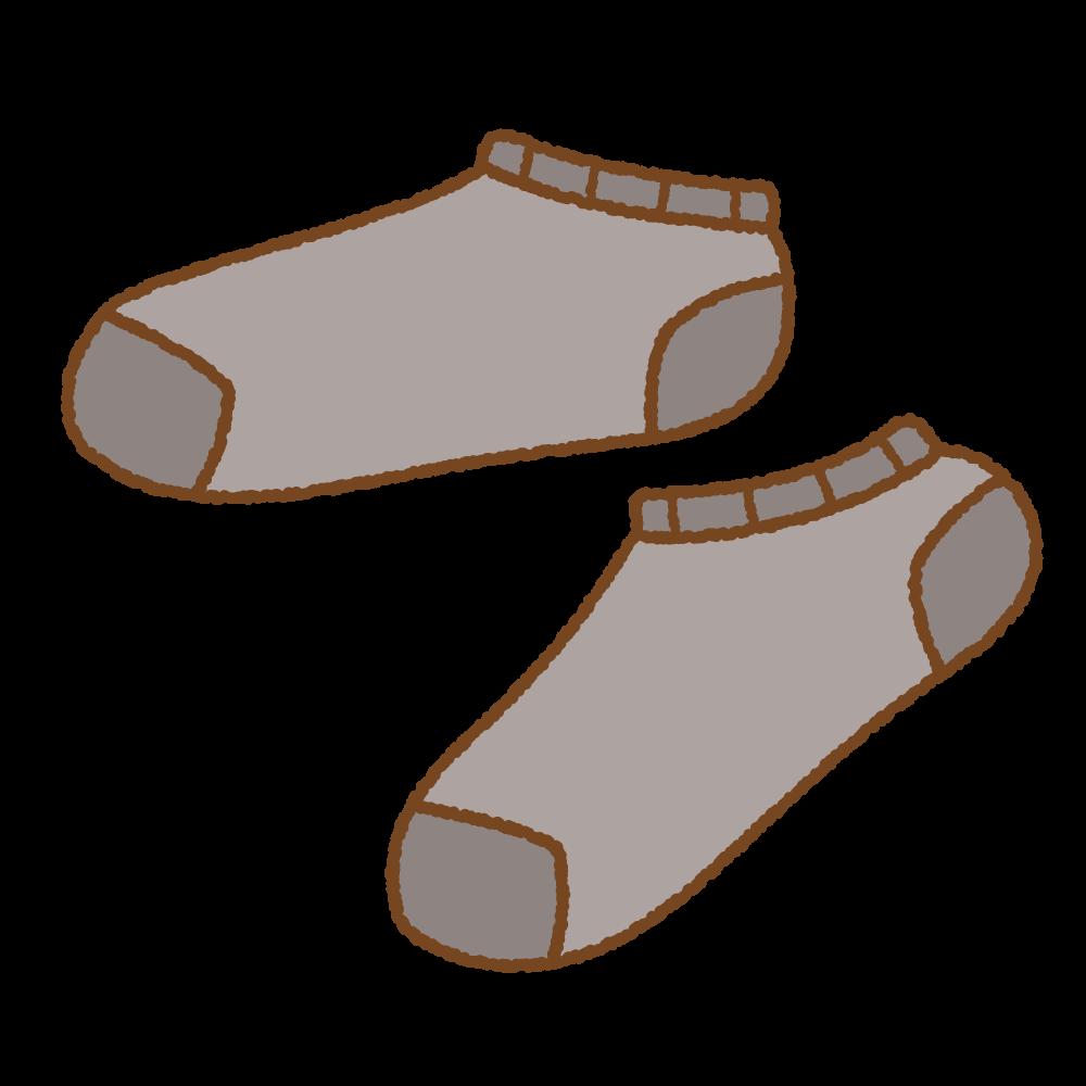 黒いスニーカーソックスのフリーイラスト Clip art of black ankle socks