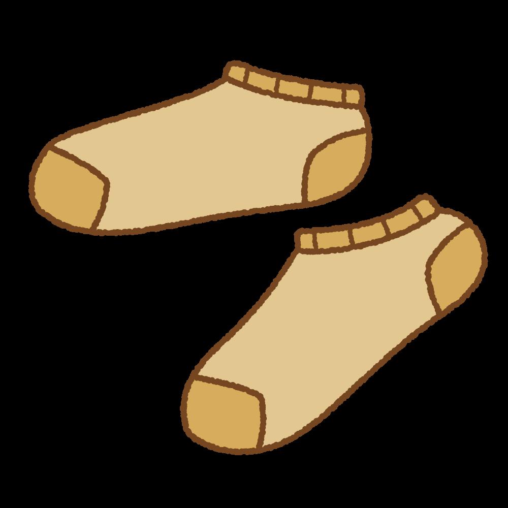 茶色いスニーカーソックスのフリーイラスト Clip art of brown ankle socks