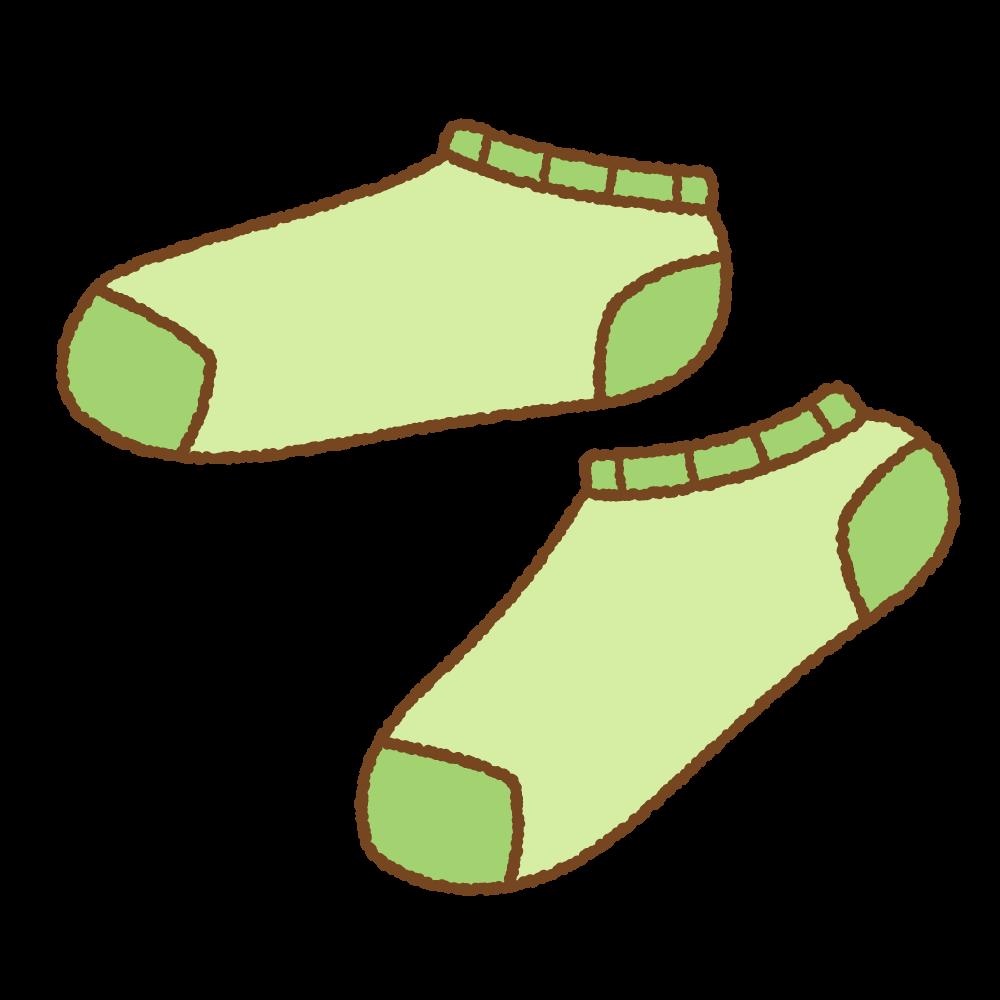 緑のスニーカーソックスのフリーイラスト Clip art of green ankle socks