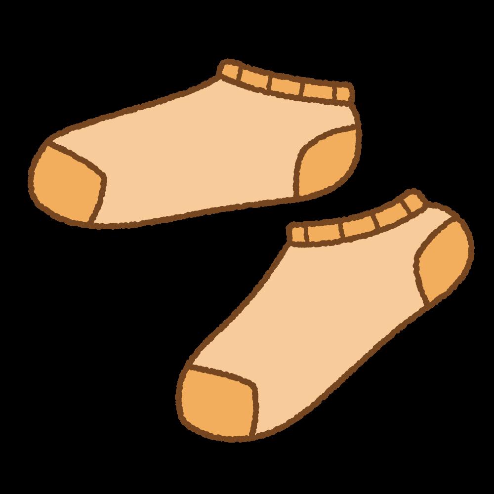 オレンジのスニーカーソックスフリーイラスト Clip art of orange ankle socks