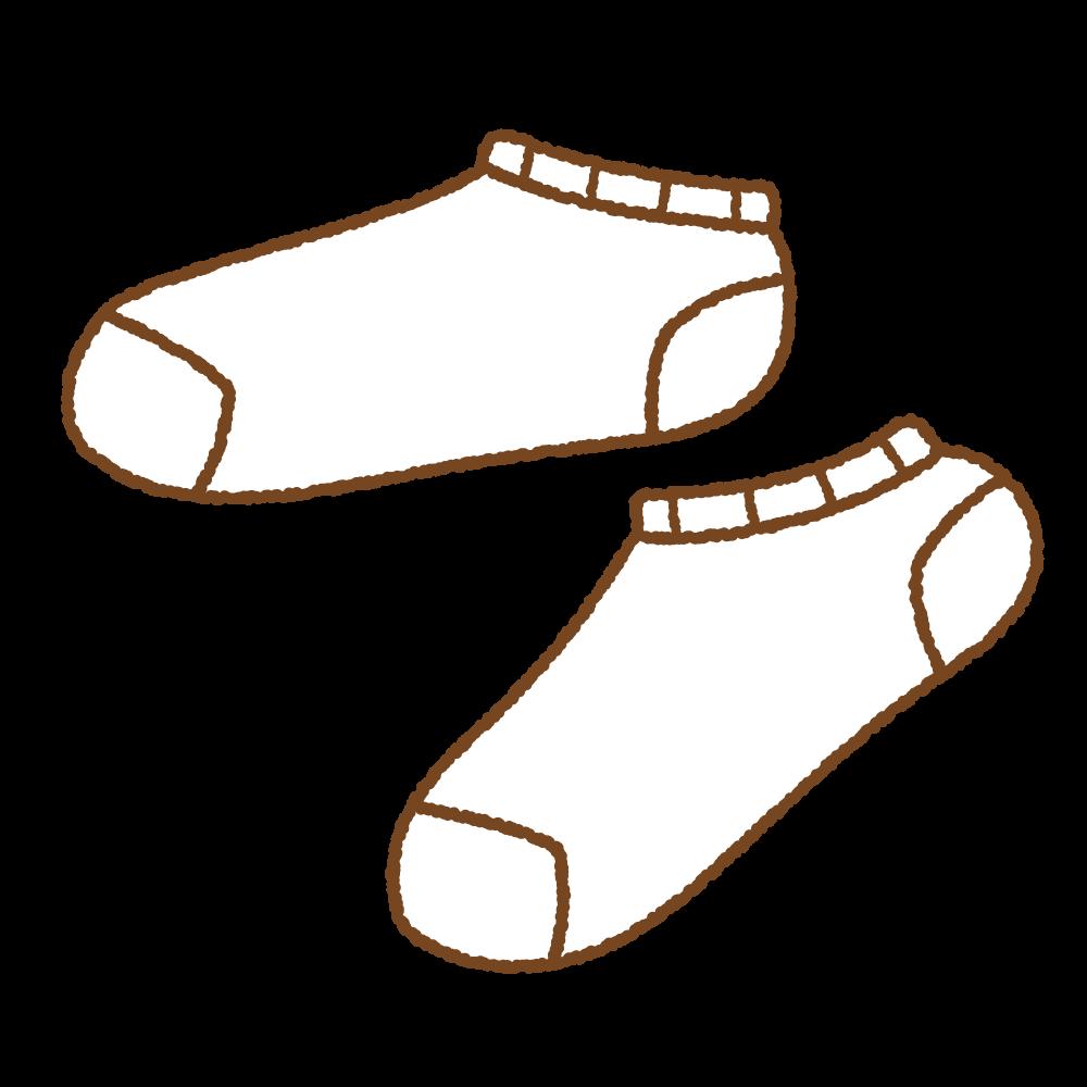 白いスニーカーソックスのフリーイラスト Clip art of white ankle socks